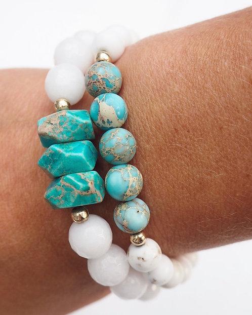 The Arabella Bracelet   White Magnesite, Turquoise + 14k Gold-Filled
