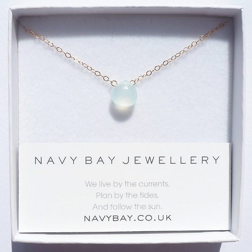 Aqua Chalcedony + 14K Gold-Filled or 925 Sterling Silver Sandbanks Necklace