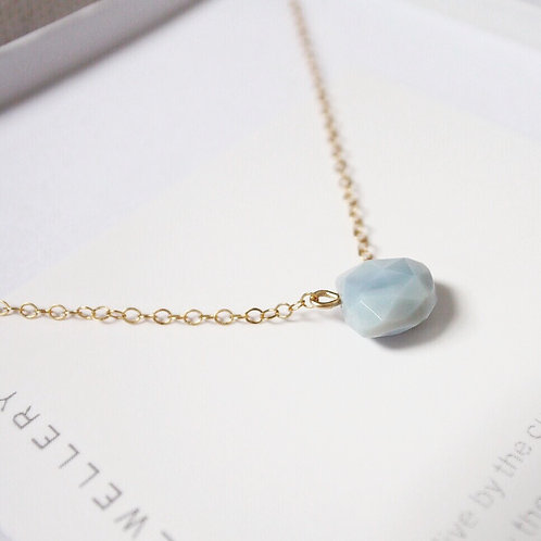 Blue Peruvian Opal + 14K Gold-Filled Salcombe Necklace