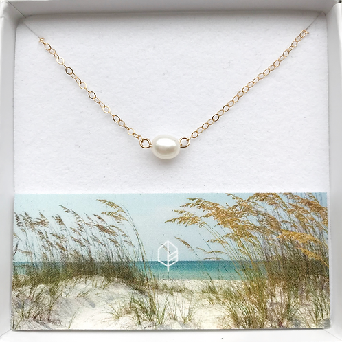 Solitaire Freshwater Pearl + 14K Gold-Filled Necklace