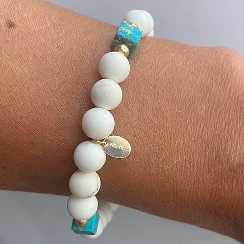 White Isle Bracelet | White Magnesite, Turquoise + 14k Gold-Filled