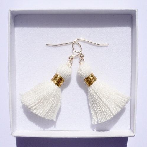 White Tassel Earrings | 14k Gold-Filled or 925 Sterling Silver