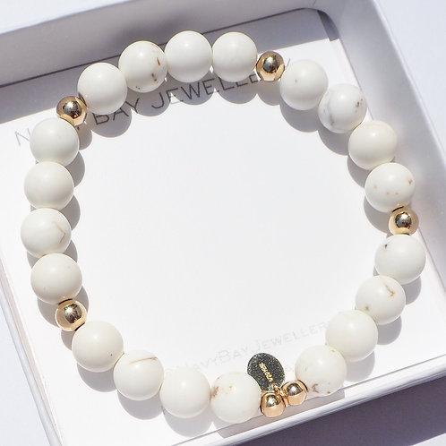 White Isle Bracelet | White Magnesite+ 14k Gold-Filled