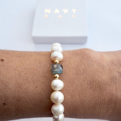 The Althea with Labradorite | Freshwater Pearl, Labradorite + 14k Gold-Filled