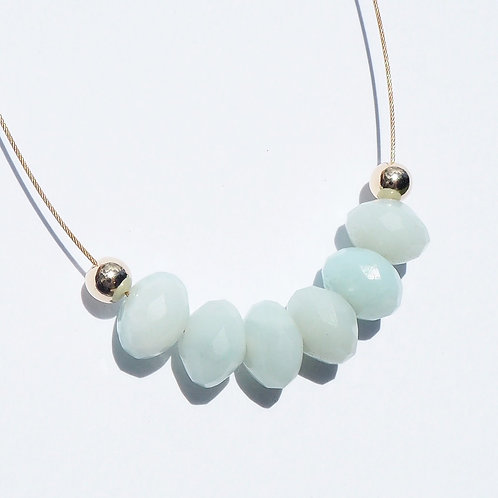Philipppa Necklace with Mint Amazonite + 14K Gold-Filled