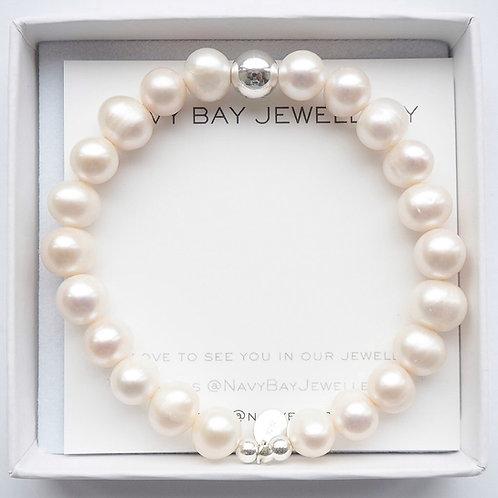 925 Sterling Silver + Freshwater Pearl Bracelet