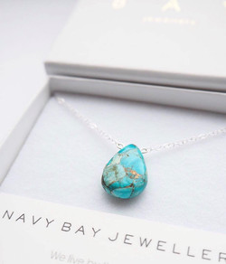 Turquoise Magnesite + 925 Sterling Silver Necklace