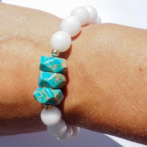 The Kiriana Bracelet | White Jade + Marbled Turquoise
