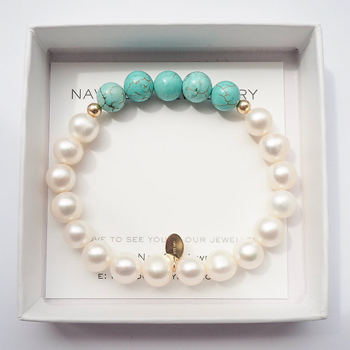 The Charlotte Bracelet | Freshwater Pearl, Turquoise + 14K Gold-Filled