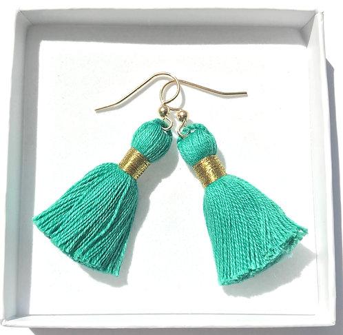 14k Gold-Filled Tassel Earrings | Sea Green