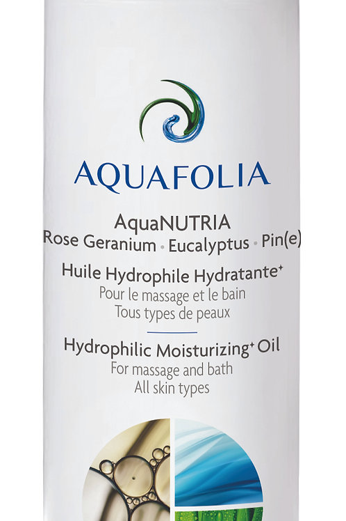 Aquafolia- Huile Hydrophile Hydratante Rose Géranium-Eucalyptus-Pin- AquaNUTRIA