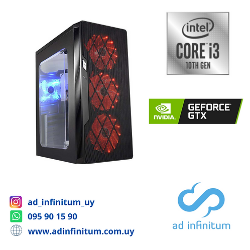 Equipo gamer Intel I3-10100 / 8 GB RAM / GTX 1050 TI 4 GB/ SSD 240 GB