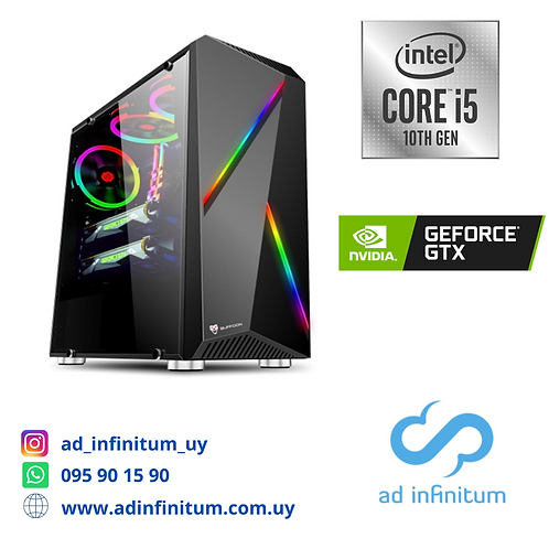 Equipo gamer Intel I5-10400f / 16 GB RAM / GTX 1050 TI 4 GB/ SSD 240 GB