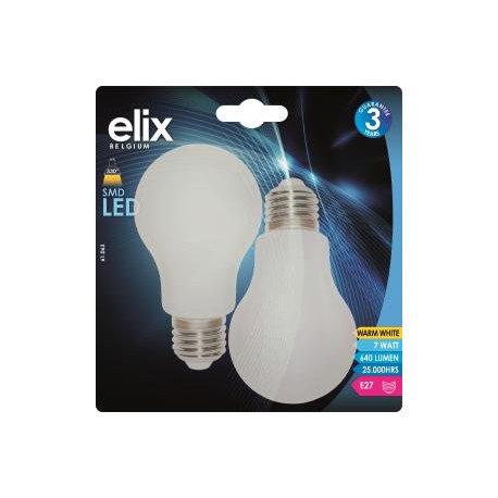 ELIX AMPOULE LED - A60 OPALE - E27 - 7W - 3200K - 2 PIÈCES