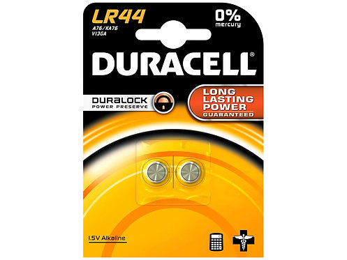 Duracell Pile bouton LR44 1,5V 2 pièces