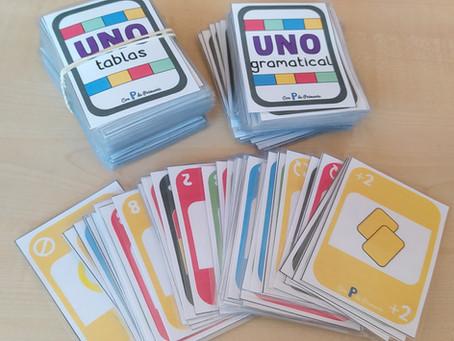 Barajas de UNO: tablas de multiplicar y gramatical
