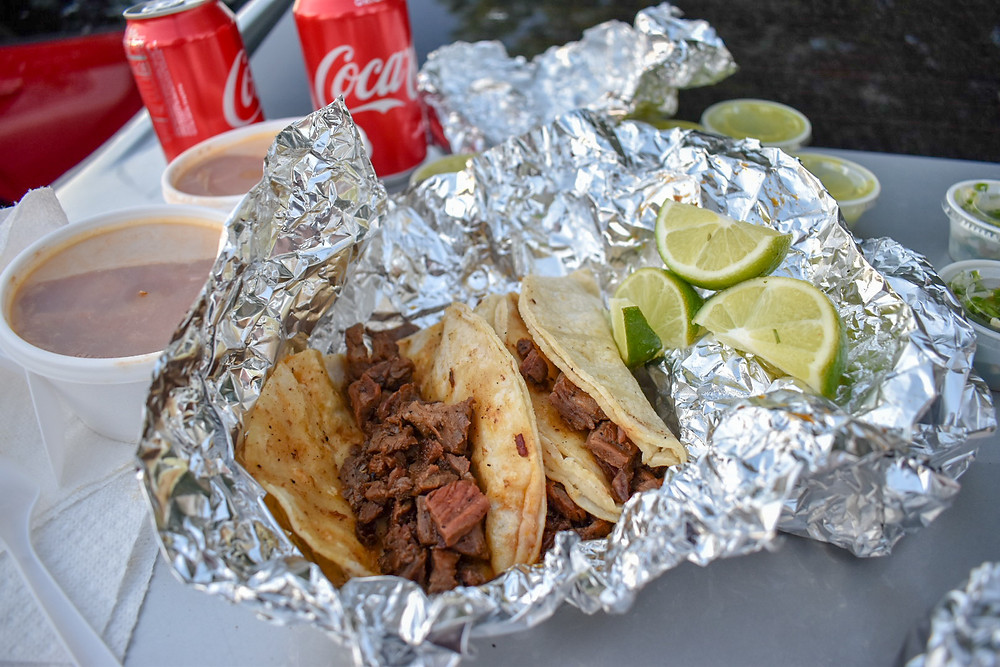 Tortillas brimming with chopped fajita at El Taconazo in Houston, Texas.