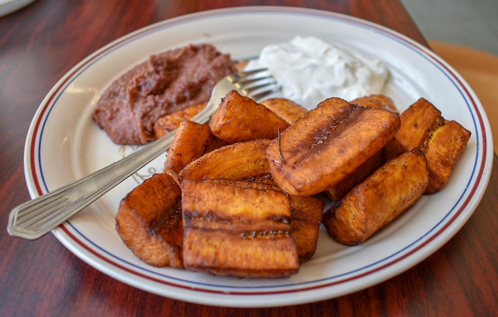 Platanos con crema y frijoles at Restaurant Monte Cristo in Houston, Texas
