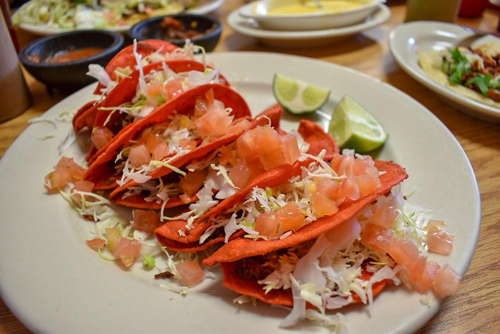Tacos rojos at Taqueria El Rojo Loco in Houston, Texas