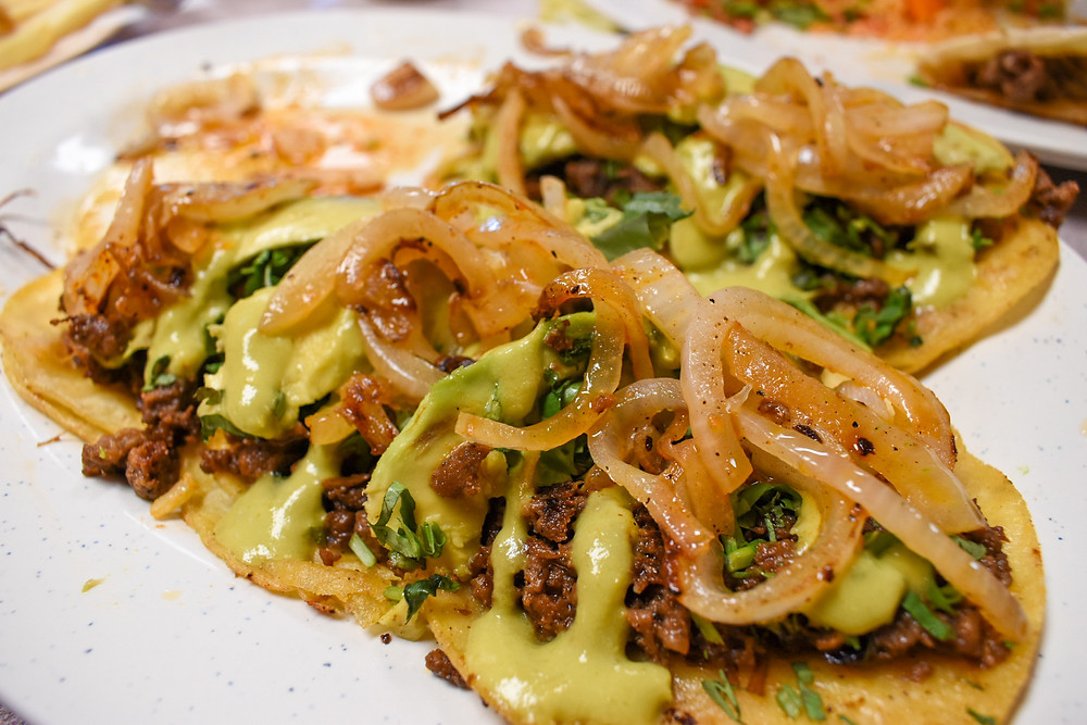 Taco spread at Taqueria Puro Jalisco in Pasadena, Texas
