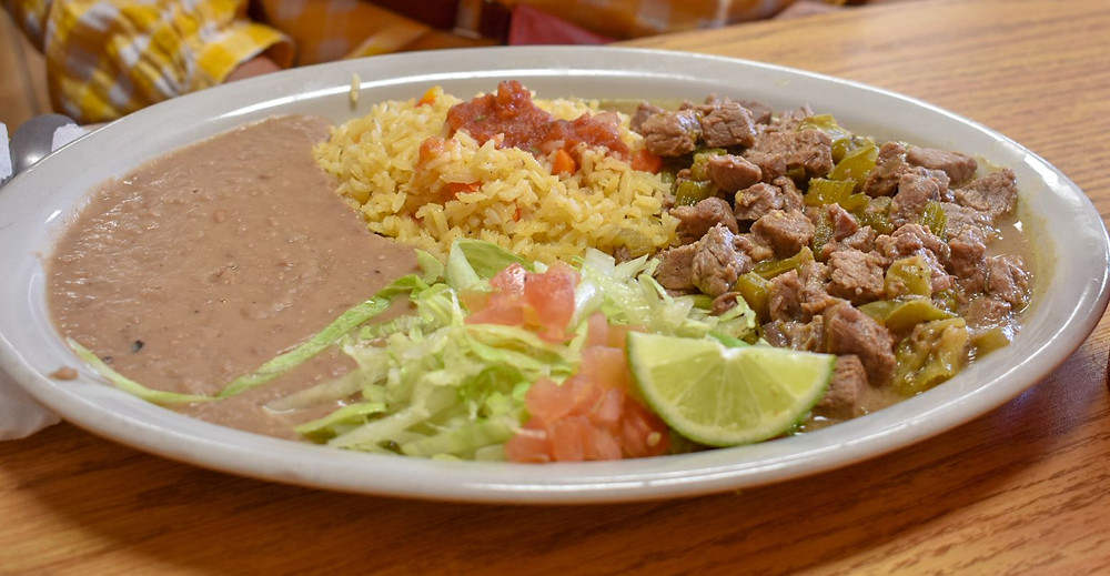 Carne guisada plate at Taqueria El Rojo Loco in Houston, Texas