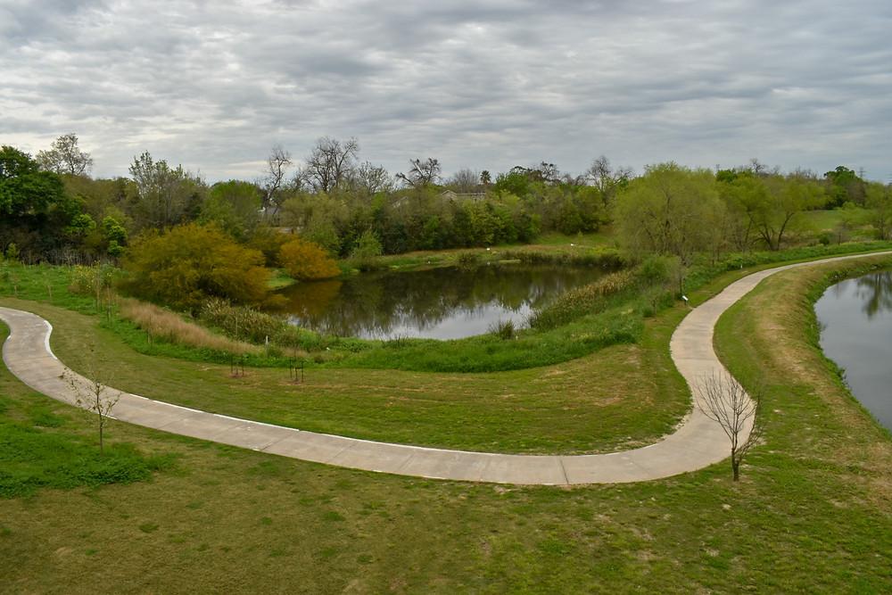 Trail along the nature preserve area of Mason Park in Houston, Texas