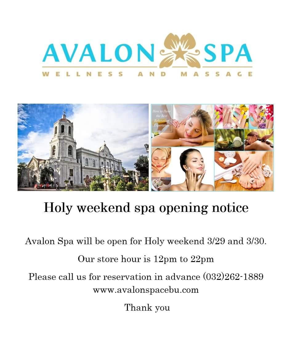 Avalon Spa Norkis Cyber park branch will open for  Holy weekend. Our store hours is 12pm to 10pm.