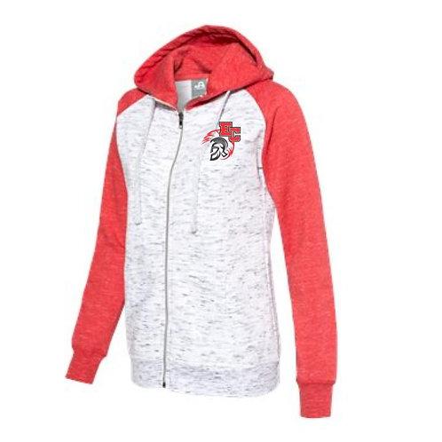 Embroidered Women's Fleece Colorblocked Full-Zip Sweatshirt