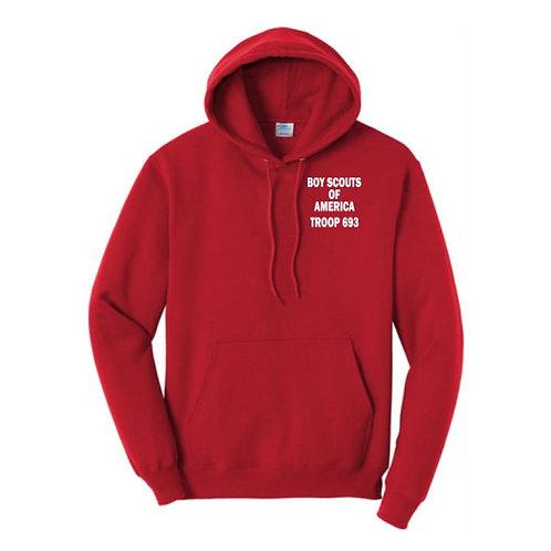 BSA Troop 693--50/50 Red Hooded Sweatshirt