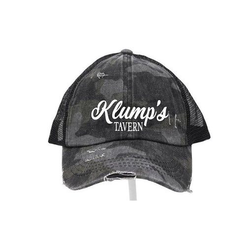 Klump's Criss Cross Black Camo Ladies CC Beanie Hat