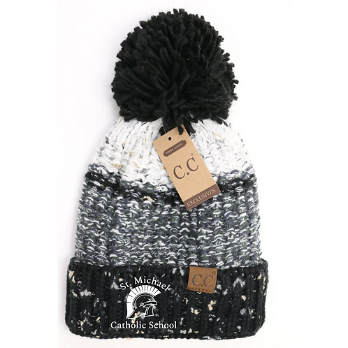 Embroidered Fuzzy Lined Flecked Multi Color Pom Beanie St. Michael