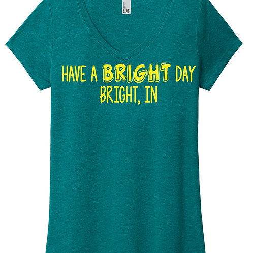 Have a Bright Day V-Neck Teal