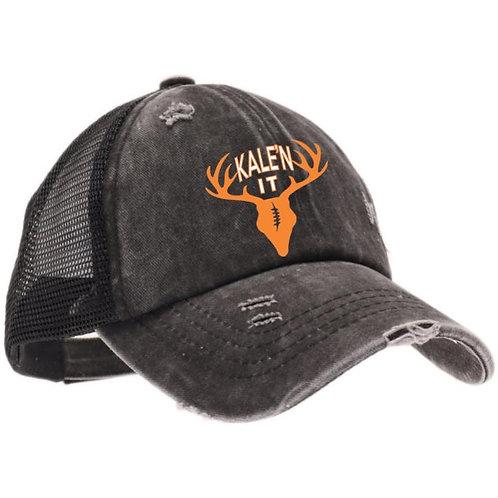 Kale'n It Ladies Criss Cross Hat--Black