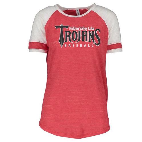 HVL Trojan Baseball Ladies Vintage Triblend Colorblock Tee