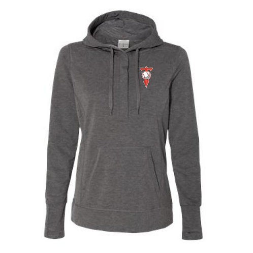 HVL Trojans Baseball Embroidered Women's Omega Stretch Snap Hooded Pullover