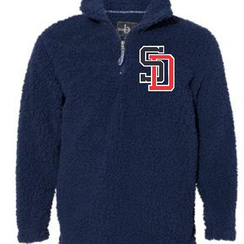 Embroidered Unisex Sherpa Fleece Quarter-Zip Pullover- Knights