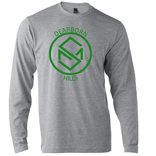 Soft Style Long Sleeve Grey with Green Design