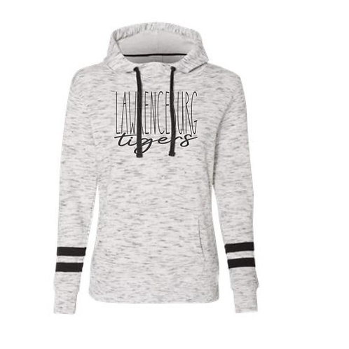Lawrenceburg Ladies Fleece Striped Hooded Sweatshirt