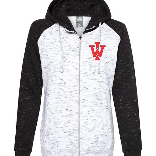 IW Women's Mélange Fleece Colorblocked Full-Zip Sweatshirt