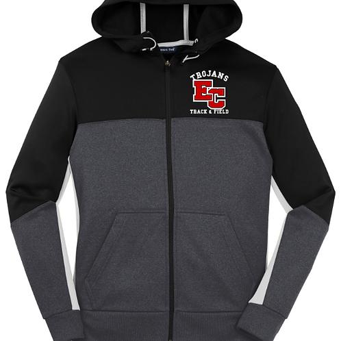 EC Track and Field Sport-Tek® Tech Fleece Colorblock Full-Zip Hooded Jac
