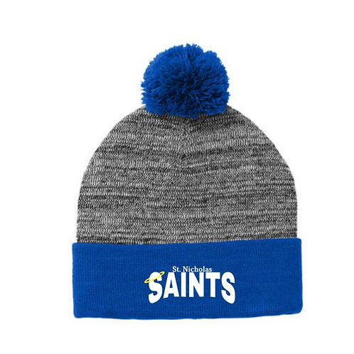 St. Nicholas Embroidered Heather Pom Pom Beanie