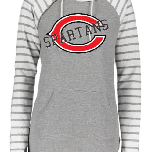 Connersville Ladies Stripe Double Hood Pullover