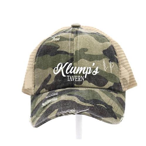 Klump's Criss Cross Olive Camo Ladies CC Beanie Hat