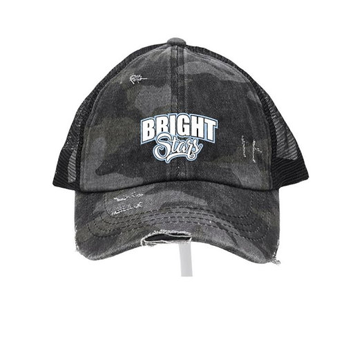 Bright Stars Criss Cross Black Camo Ladies CC Beanie Hat