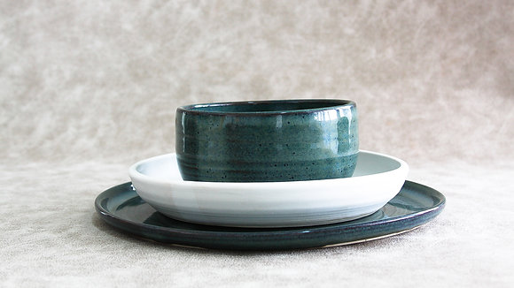 Woo's Blue | Moonstone - Simple Place Setting (3 Piece) (Wholesale)