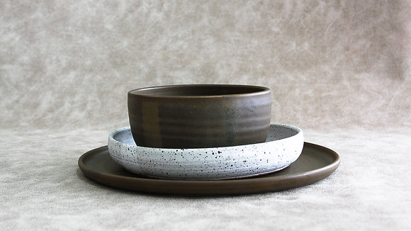 Charcoal | Dalmatian - Simple Place Setting (3 Piece)