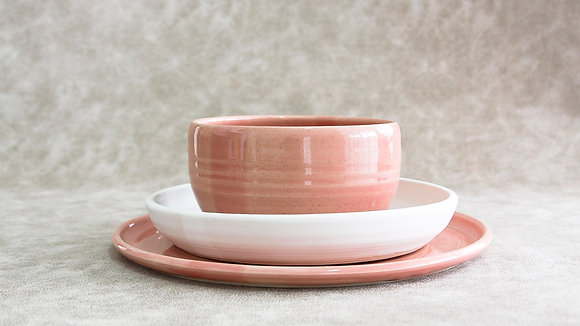 Fib's Pink | Moonstone - Simple Place Setting (3 Piece) (Wholesale)