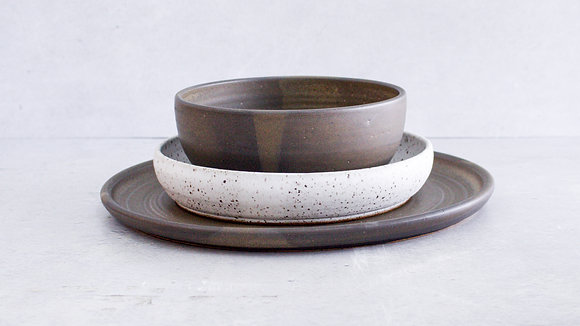 Charcoal | Dalmatian - Simple Place Setting (3 Piece)