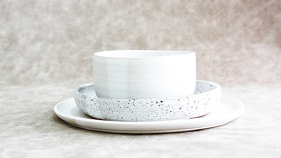 Moonstone | Dalmatian - Simple Place Setting (3 Piece)