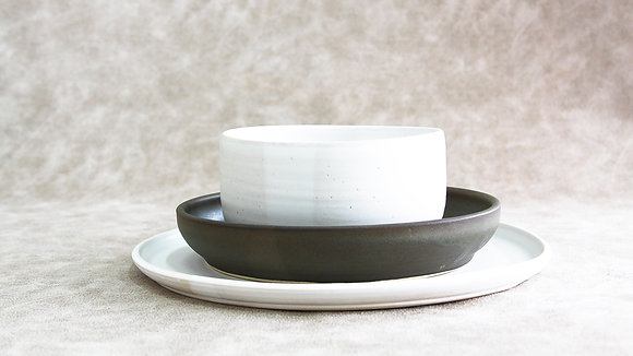 Moonstone | Charcoal - Simple Place Setting (3 Piece)